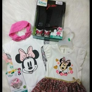 🌈HP🎉 DISNEY Minnie 0-12 M 9 Pc Baby Bundle
